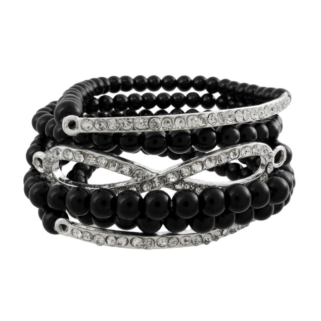 Eternity Design Black Beaded Stretch Bracelet Womens Bangle Bracelets