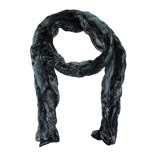 Black And Gray Snake Print Crinkle Scarf Womens Fashion Scarves