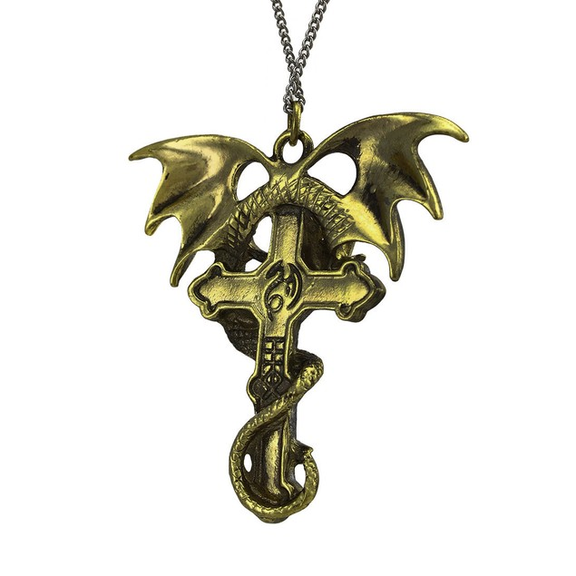 Anne Stokes `Crux Dragana` Strong Protection Womens Pendant Necklaces