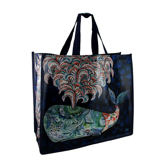 Allen Designs Colorful Spouting Whale Artistic Womens Tote Bags