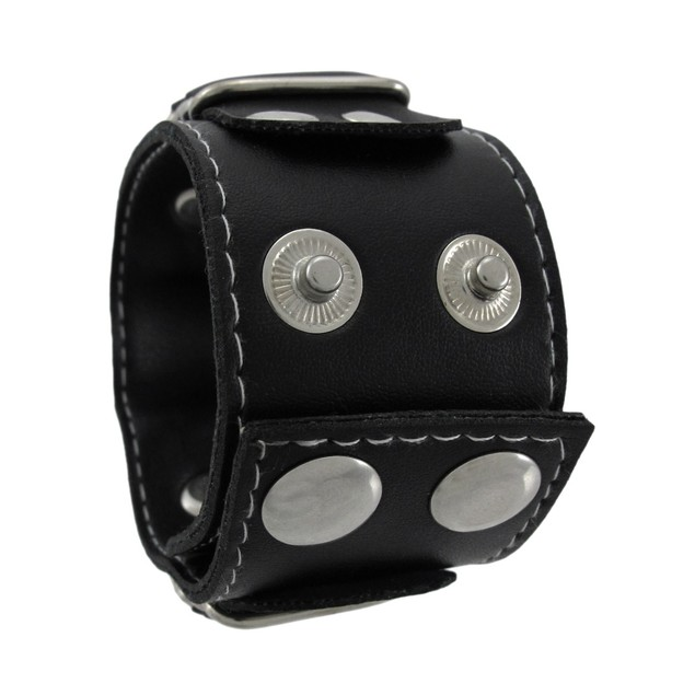 Black Vinyl Grim Reaper Wristband With Red Eyes Womens Cuff Bracelets
