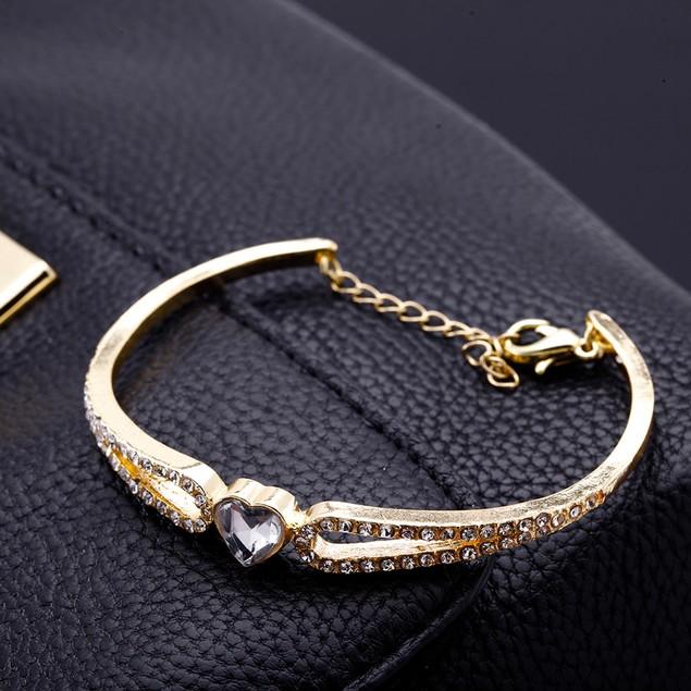 Crystal Heart Bangle Bracelet - 2 Colors