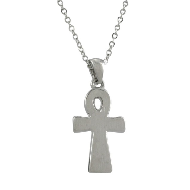 Silvertone Ankh Necklace With Rhinestone Accents Chain Necklaces