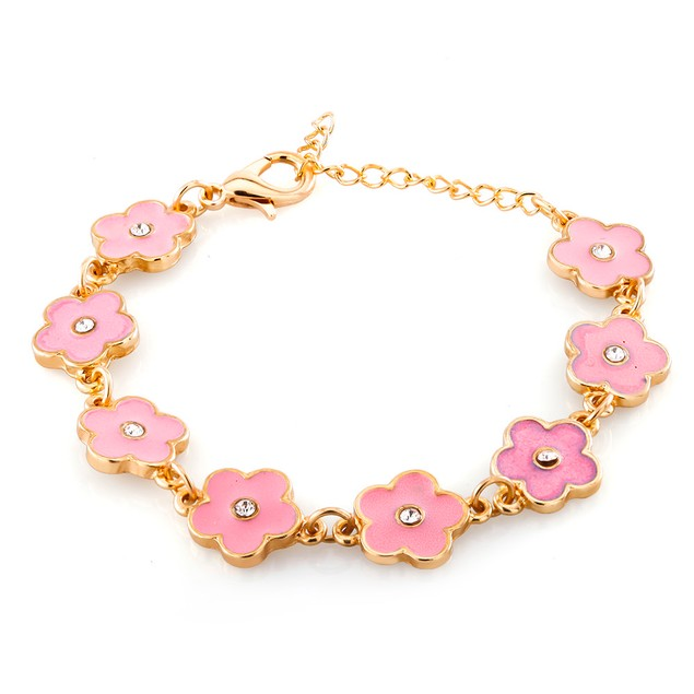 Kids Gold Plated Pink Flower Enamel Bracelet