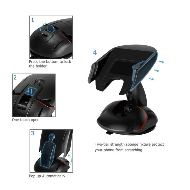 Universal Dashboard/ Windshield Fold-able Mouse Car Mount Phone Holder