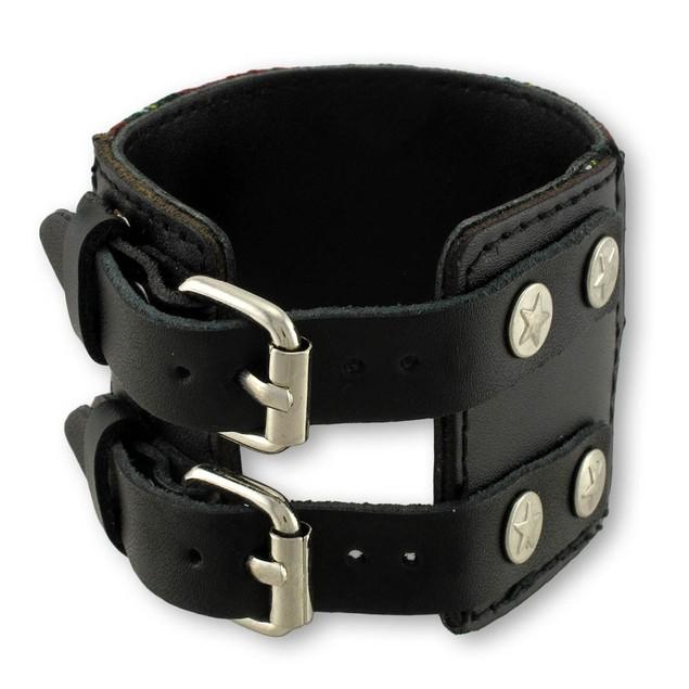 Black And Red Tartan Plaid Double Buckle Bracelet Mens Cuff Bracelets