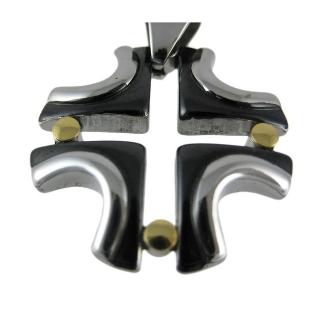 Stainless Steel & Black Enamel Modern Cross Mens Individual Pendants