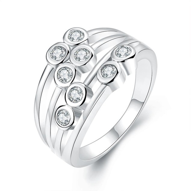 White Gold Plated Eight Crystal Jewels Line Ring