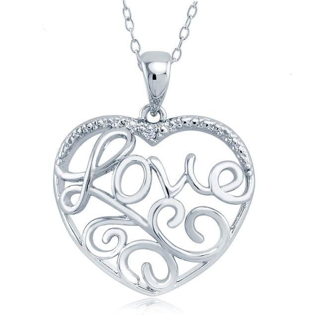 1/10cttw Diamond Accent Fancy Love Heart Necklace