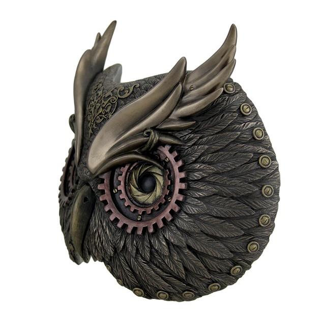 Metallic Bronze Steampunk Owl Head Wall Mask Decorative Plaques