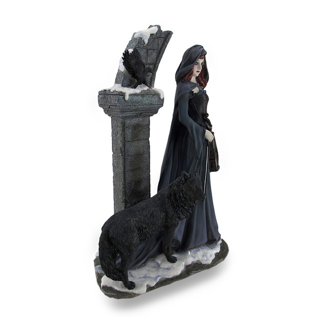 Cloaked Violinist In Archway W/Wolf And Crow Statues