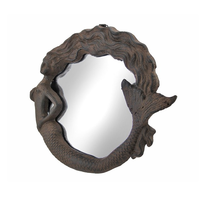 Cast Iron Mermaid Wall Mounted Mirror Rust Color Wall Mounted Mirrors
