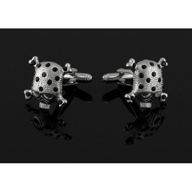 Black Rhinestone Skull & Crossbones Cufflinks Cuff Mens Cuff Links