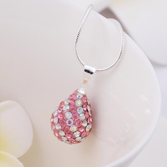 Multi-Toned Austrian Stone Pear Necklace - Vivid Coral