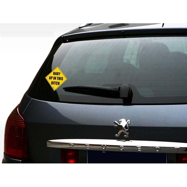 Zone Tech 2x Baby Up In This Bitch Car Bumper Reflective Window Stickers