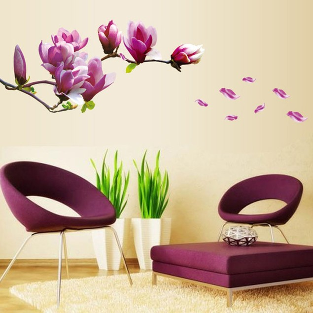 Removable Magnolia Flower Vinyl Wall Stickers