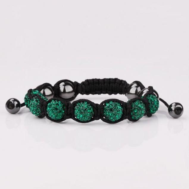 80's Glam Six Beads Austrian Crystal Bracelet - Dark Emerald