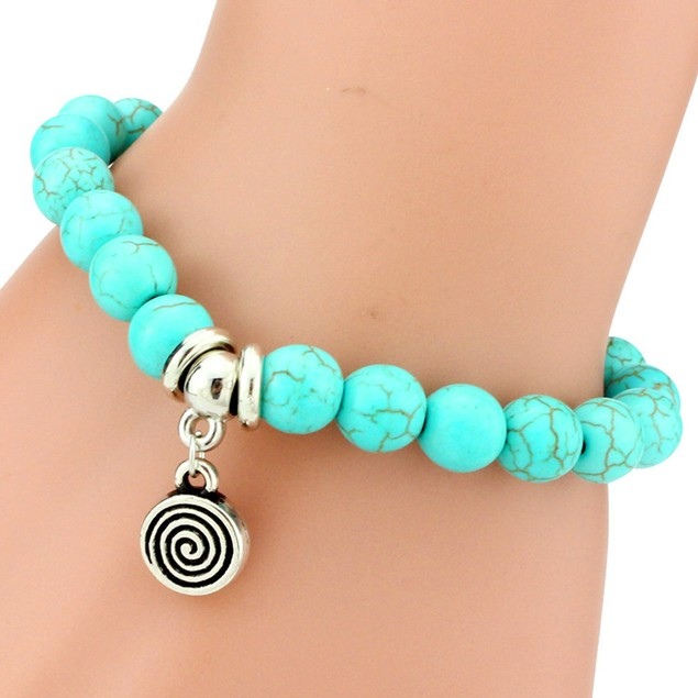 Turquoise Stone Charm Bracelet - 9 Styles
