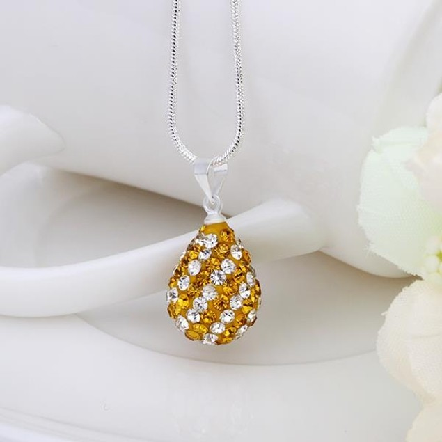 Multi-Toned Austrian Stone Pear Necklace - Royal Yellow Citrine