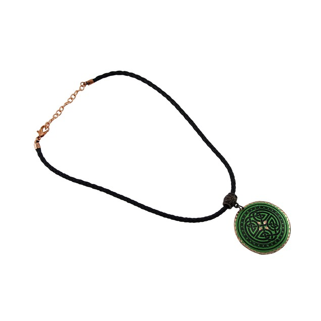 Green Celtic Knot Pendant With Copper Accents On Womens Pendant Necklaces
