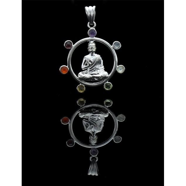 Silver Plated Meditating Buddha Chakra Pendant Pendants