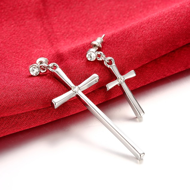 Gold Plated Cross with CZ Stone Studs