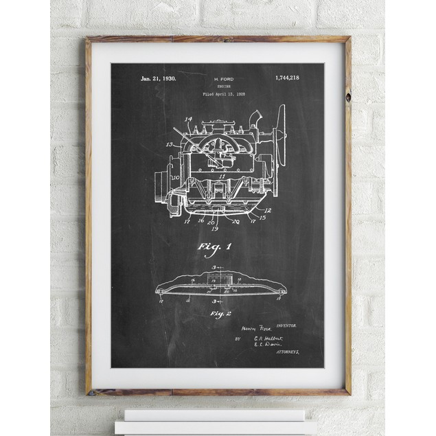 Model A Pickup Truck Engine Poster