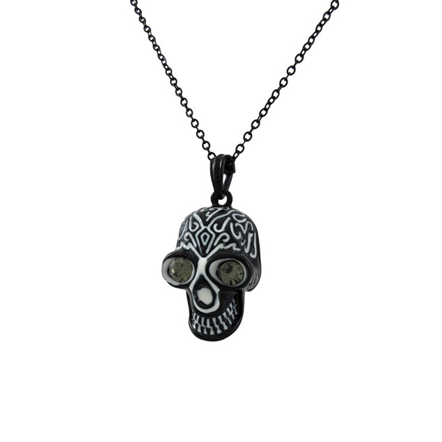 Necklace With Black And White Skull Pendant Chain Necklaces
