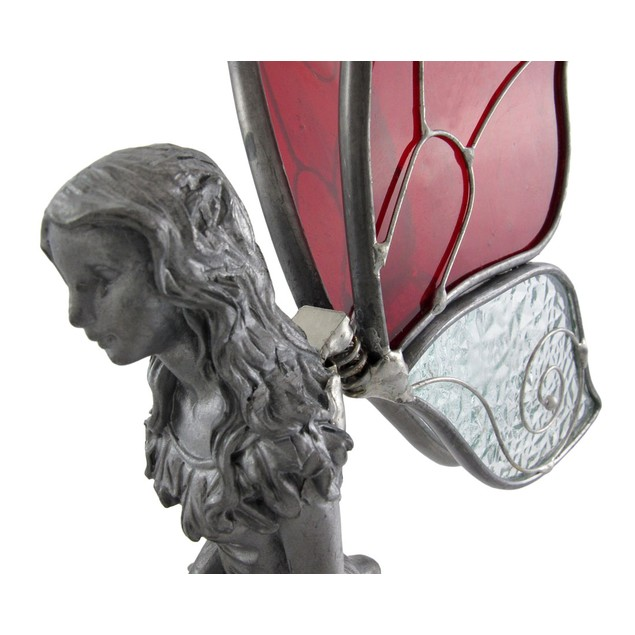 Pewter Kneeling Fairy With Red And Clear Wings Collectible Figurines