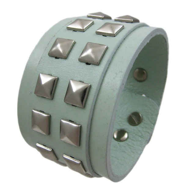 Gray Leather 2 Row Pyramid Studded Wristband Wrist Mens Leather Bracelets