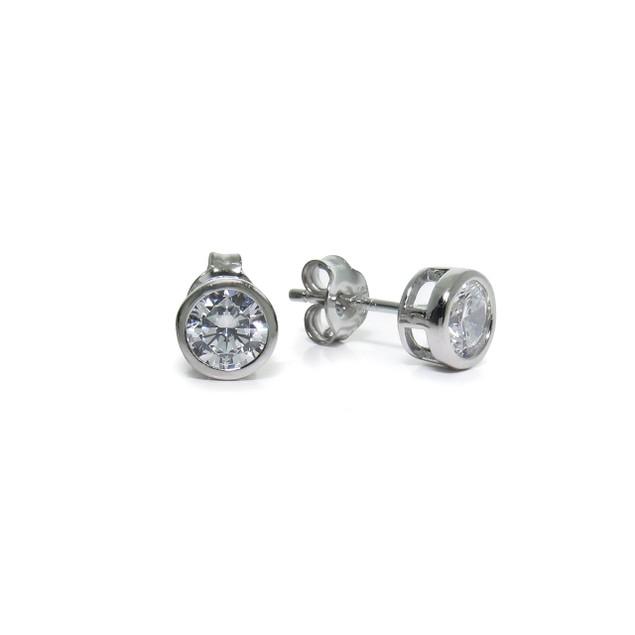 Sterling Silver Round CZ Bezel Stud Earrings; 5mm
