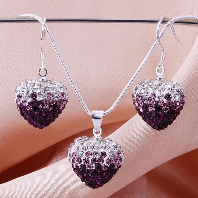 Austrian Stone Multi-Pave Heart Earring and Necklace Set - Purple Twist