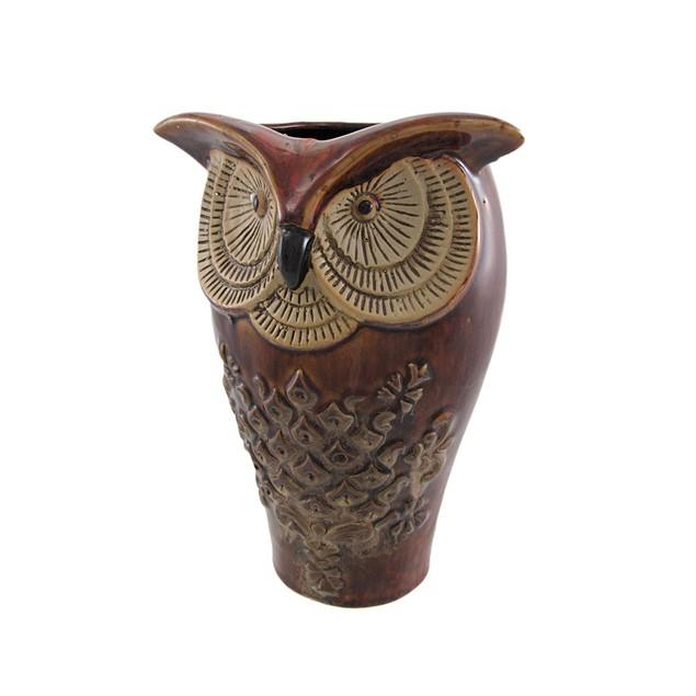 9 Inch Tall Ceramic Owl Flower Vase Vases