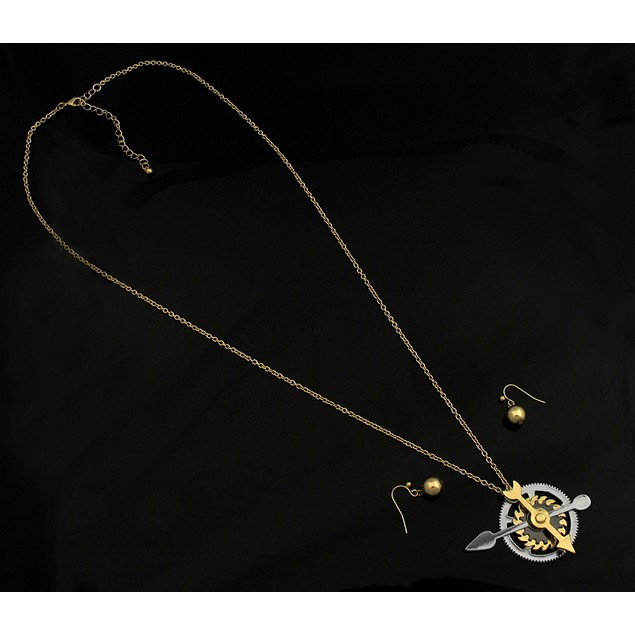 Tri-Color Steampunk Gears And Cogs Necklace / Womens Earring And Necklace