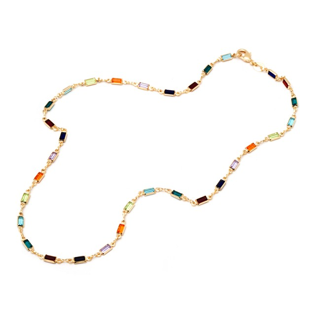 18K Gold Plated Gold and Crystal Baguette-cut Link Necklace