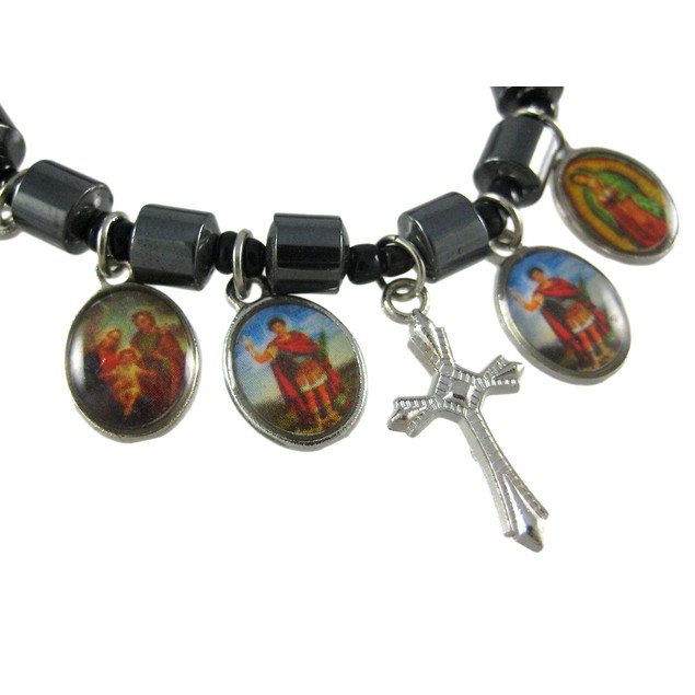 Hematite Bead Stretch Bracelet Dangle Christian Womens Stretch Bracelets