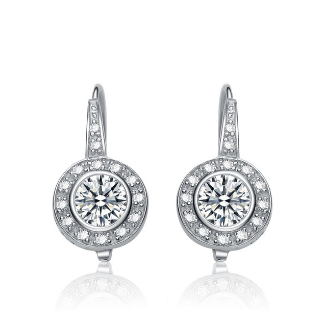 C.Z. Sterling Silver Rhodium Plated Round Stud Drop Euro Earrings