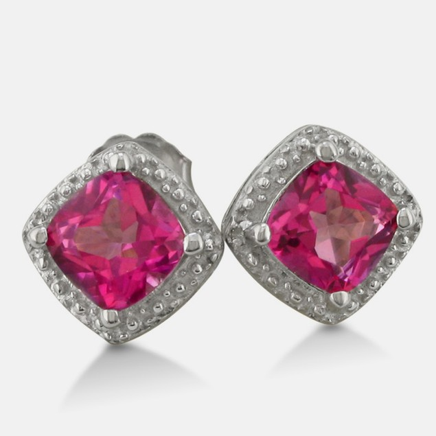 2ct Pink Sapphire and Diamond Cushion Cut Earrings