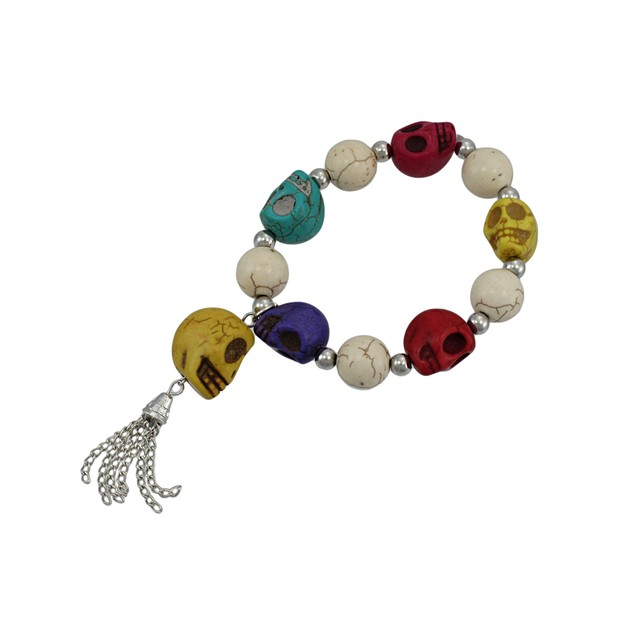 Multicolor 3D Skull Bead Stretch Bracelet Chrome Womens Stretch Bracelets