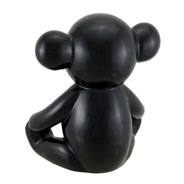 Glossy Black Ceramic Teddy Bear Statue 6 Inch Statues