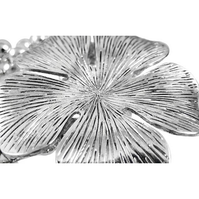 Chrome Hibiscus Flower Silver Bead Stretch Womens Stretch Bracelets