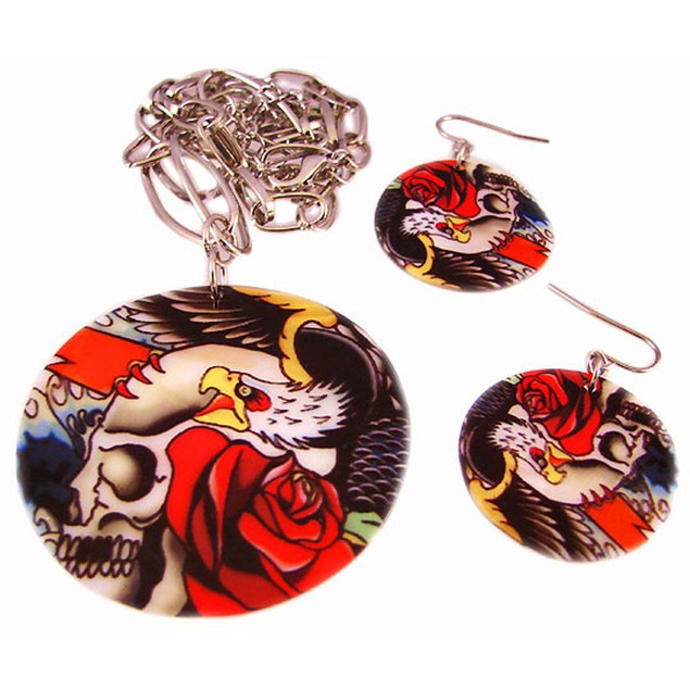 Tattoo Skull & Roses Shell Necklace & Earrings Set Womens Earring And