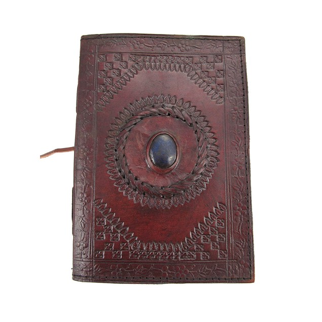 Embossed Leather Blue Stone 120 Page Unlined Journal