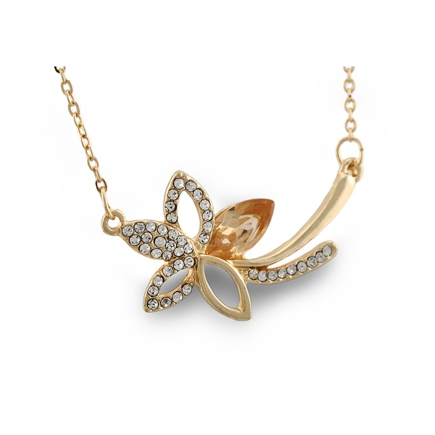 Rhinestone Flower W/Jewel Accent Gold Tone Womens Pendant Necklaces