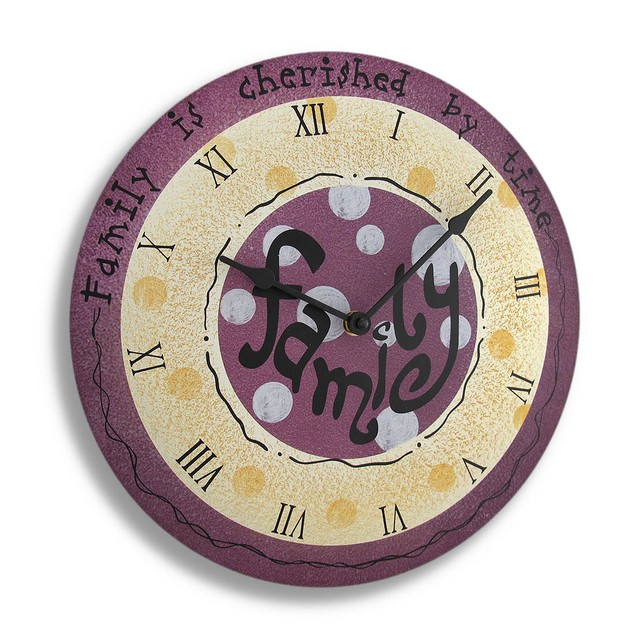 Whimsical Wood `Family` Wall Clock Wall Clocks
