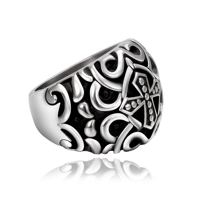 Roman Inspired Stainless Steel Ring