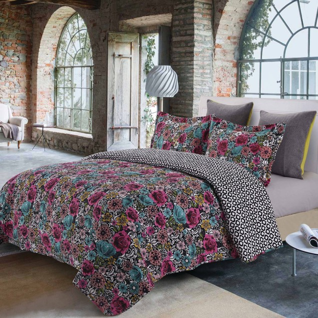 3-Piece Set: Comfy Quilt & Shams - Midnight Garden