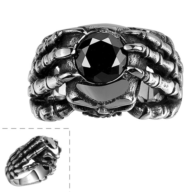 Black Gem with Sterling Silver Lining Ring