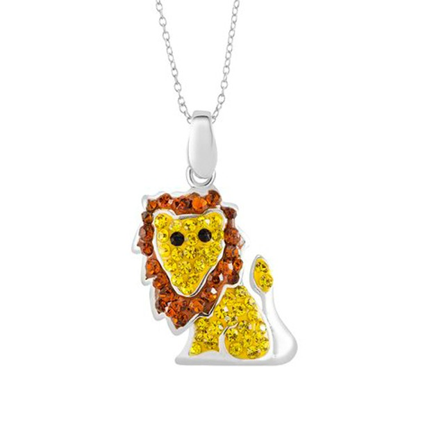 Sterling Silver Crystal Lion Necklace