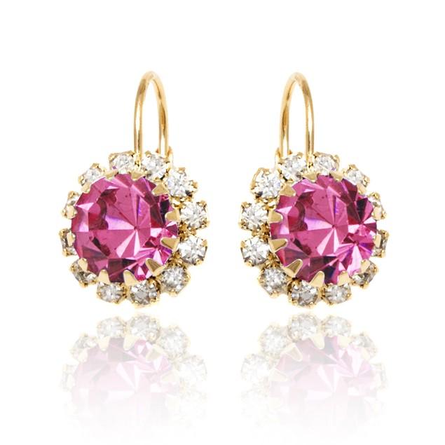 Pink & White Crystal Flower Huggie Earrings